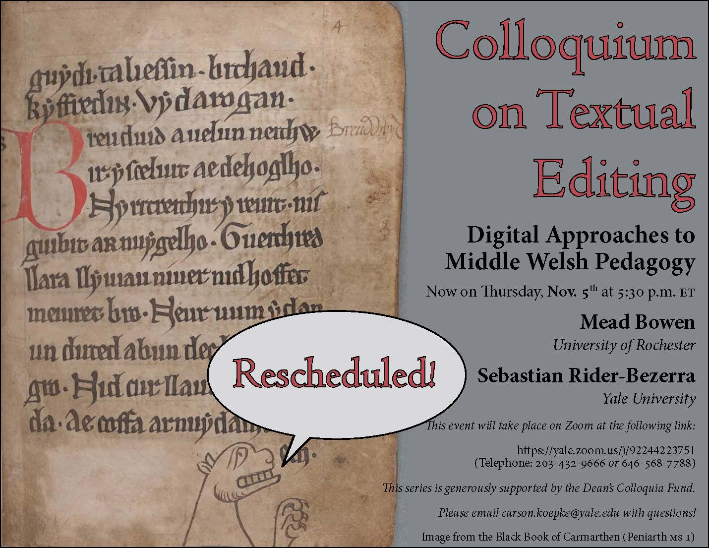 Colloquium on Textual Editing - 5 November flyer
